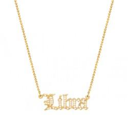 cubic zirconia old english zodiac necklace - libra
