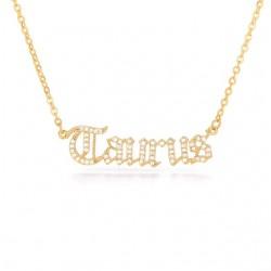 cubic zirconia old english zodiac necklace - taurus