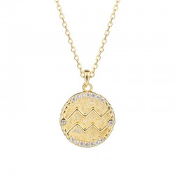 zodiac coin necklace with cubic zirconia - Aquarius