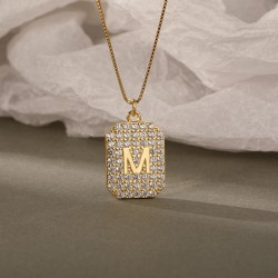 18k gold plated pendant with letter M and zircon stones