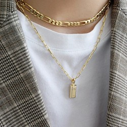 link chain necklace with square pendant 18k gold plated silver