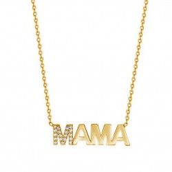 mama necklace in gold plated silver and cz stones