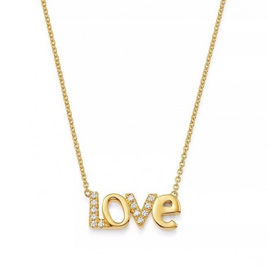 Love necklace gold plated silver and cz stones
