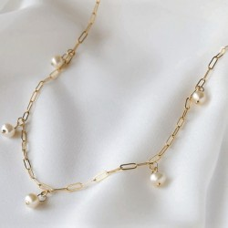 14k Gold filled choker necklace with natural freshwater pearls