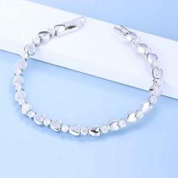 silver bracelet with hearts , cz stones &  crystals from swarovski
