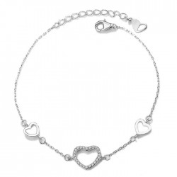 Heart bracelet for girls with cubic zirconia
