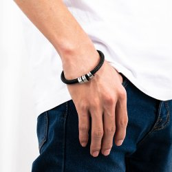 men bracelet with custom beads - 925 sterling silver