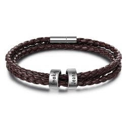 Men Braided Brown Leather Bracelet with Custom Beads