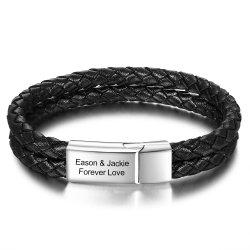 Engraved leather bracelet for men