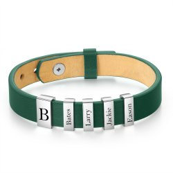 Engraved men's bracelet - green leather