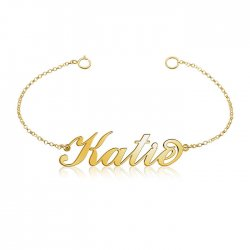 name bracelet in gold plated sterling silver