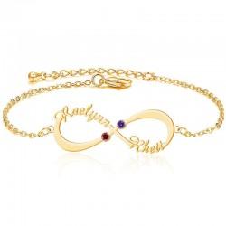 Infinity 2 Names Bracelet with Birthstones