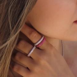 Sterling silver ruby zirconia ring