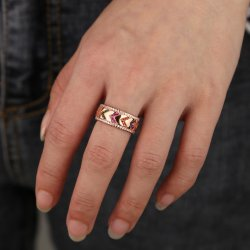 rose gold plated colorful ring