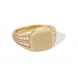 gold classic signet ring with cubic zirconia
