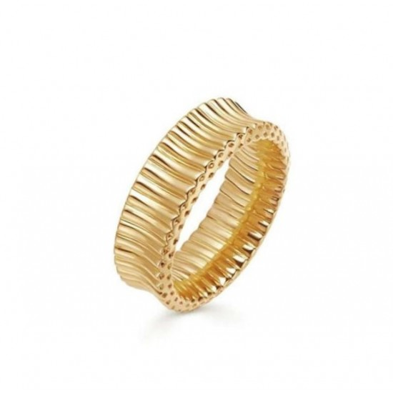 Wave ring 18k gold plated