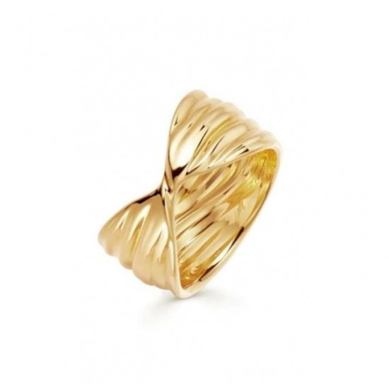 Twisted Wave ring 18k gold plated