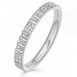 Double eternity ring 18k gold plated silver and two rows of zircon stones