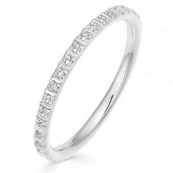 Eternity ring 18k gold plated silver and a row of  zircon stones