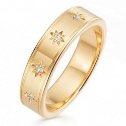 Eternity ring 18k gold plated silver and a row of stars