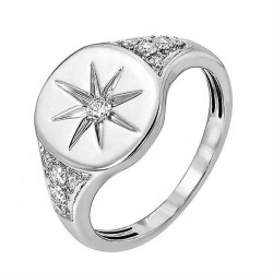 Star signet ring - 18k gold plated silver and zircon stones