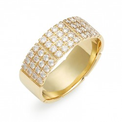 Band ring 18k gold plated silver and 4 rows of zircon stones