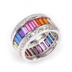 sterling silver rainbow ring - wide round design