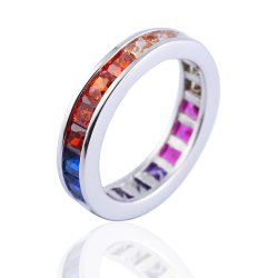 sterling silver rainbow ring - delicate design