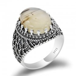 925 sterling silver vintage ring for men with big natural Agate  stone
