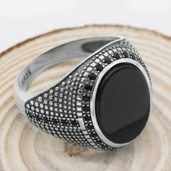925 sterling silver ring for men with black Agate stone