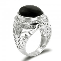 925 sterling silver men rings ,  white gold plated ,  with red Agate stone and cubic zirconia