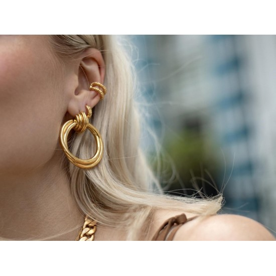 18k Gold Large Round Hoop Earrings