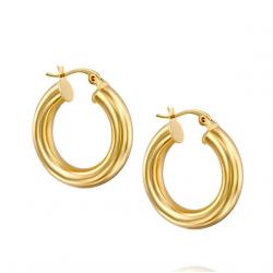 tube hoop earrings - 18k gold plated silver