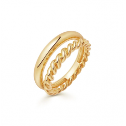 twisted rope ring 18k gold plated