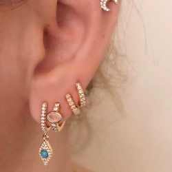 18k gold plated silver earrings with blue stone