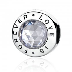 """"""" LOVE IS FOREVER """" silver bead"""