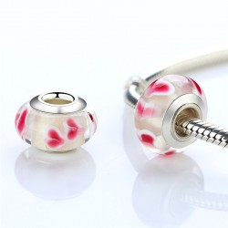 glass bead with pink flowers