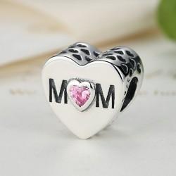 """MOM""  silver bead with zirconia"