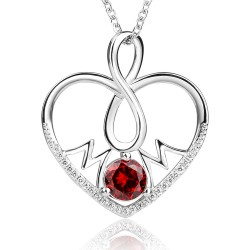 beautiful  heart pendant for mom in sterling silver &  red cubic zirconia