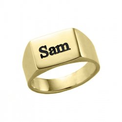 Gold Plated Engraved Long Rectangle Ring