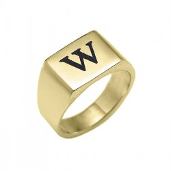 18K Gold Plated Engraved Rectangle Ring