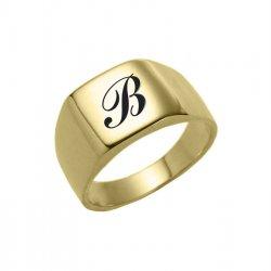 טבעת חותם בסגנון ריבוע מעוגל בציפוי זהב 18 קראט